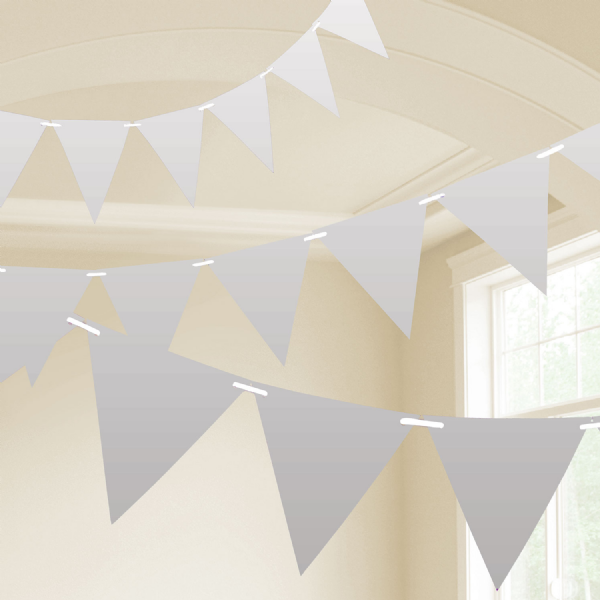 Silver Plastic Pennant Bunting 10m
